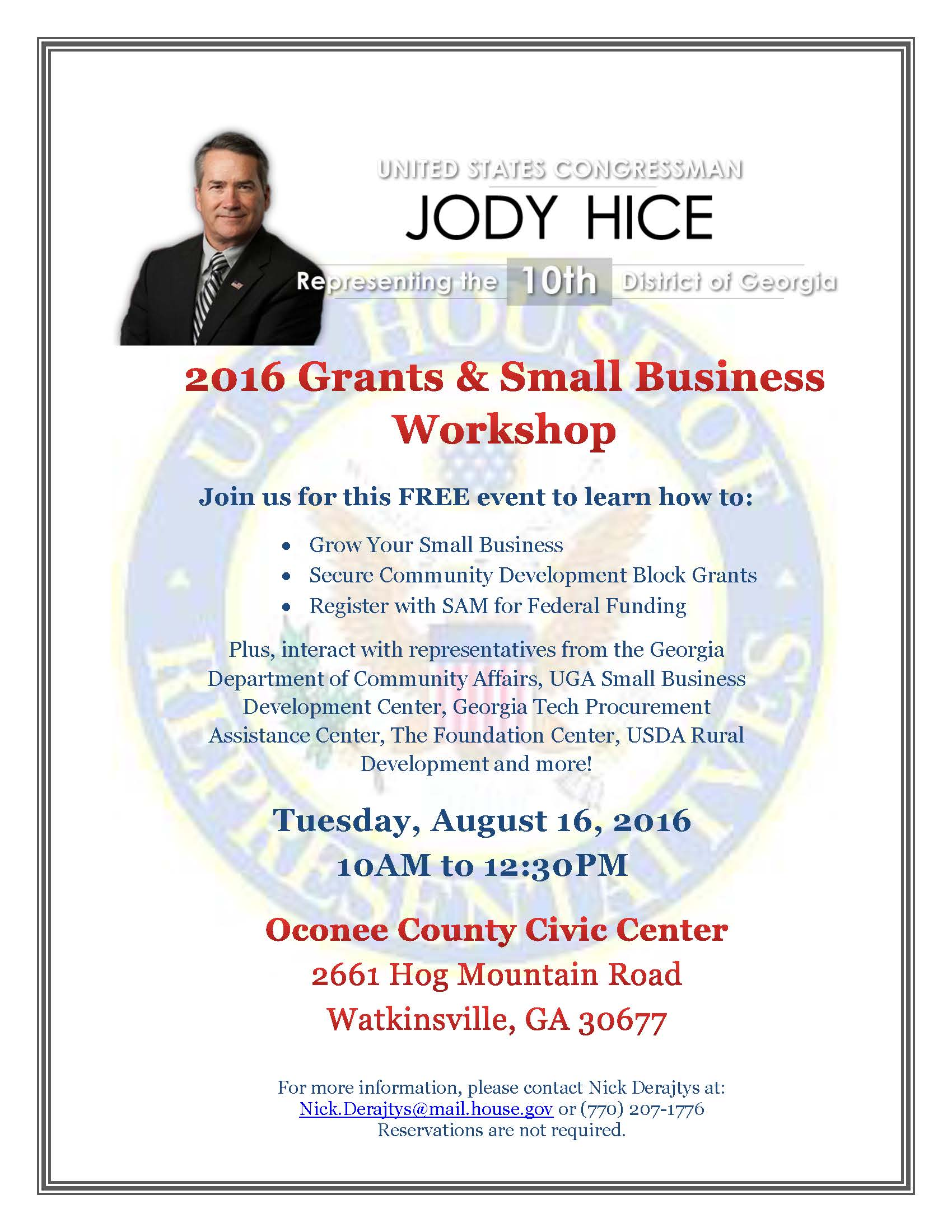 2016 Grants and Small Business Workshop Flyer