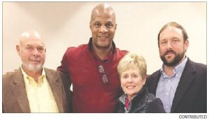 Eatonton Mayor Walt Rocker Jr., Darryl Strawberry, Rebecca Rocker and Walt Rocker III become friends Oct. 27 in New York City. The Rockers visited the former MLB player because he is coming to Eatonton to film his life story.