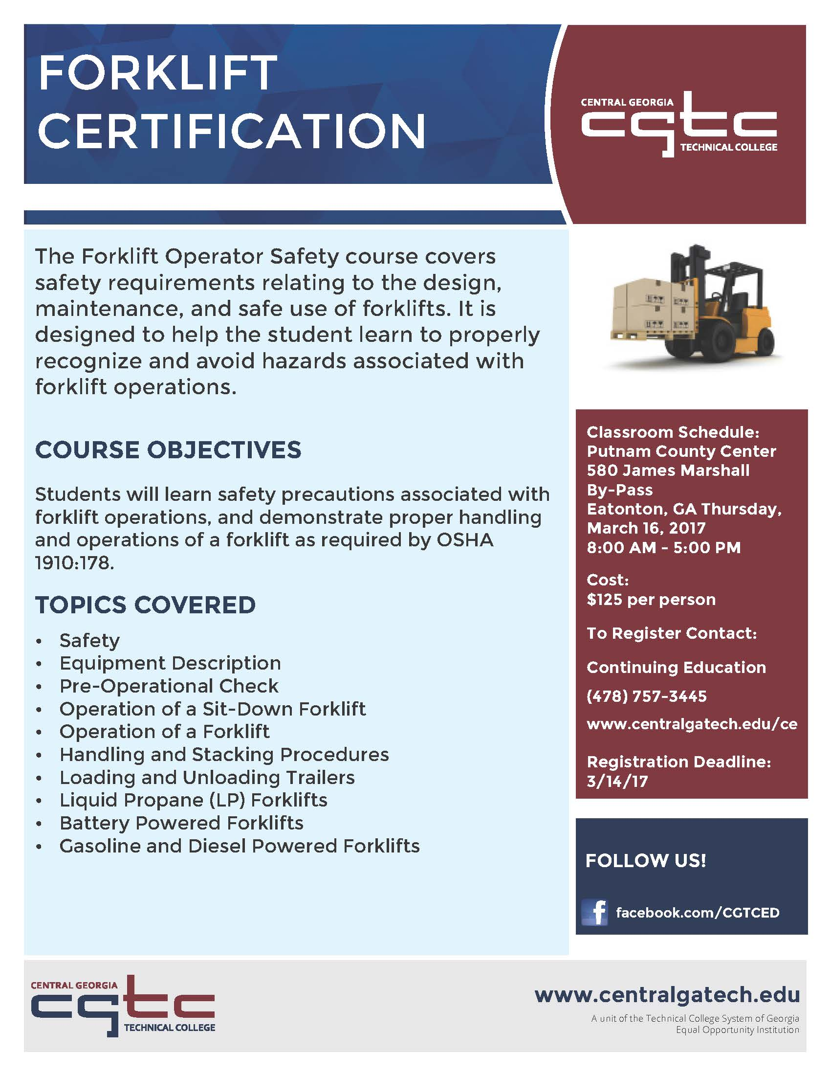 Forklift Operator Safety Course Available At Cgtc Eatonton Campus