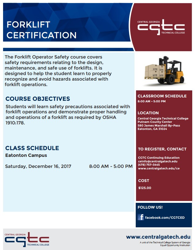 Forklift Certification Course Dec 16th 800am 500pm Putnam