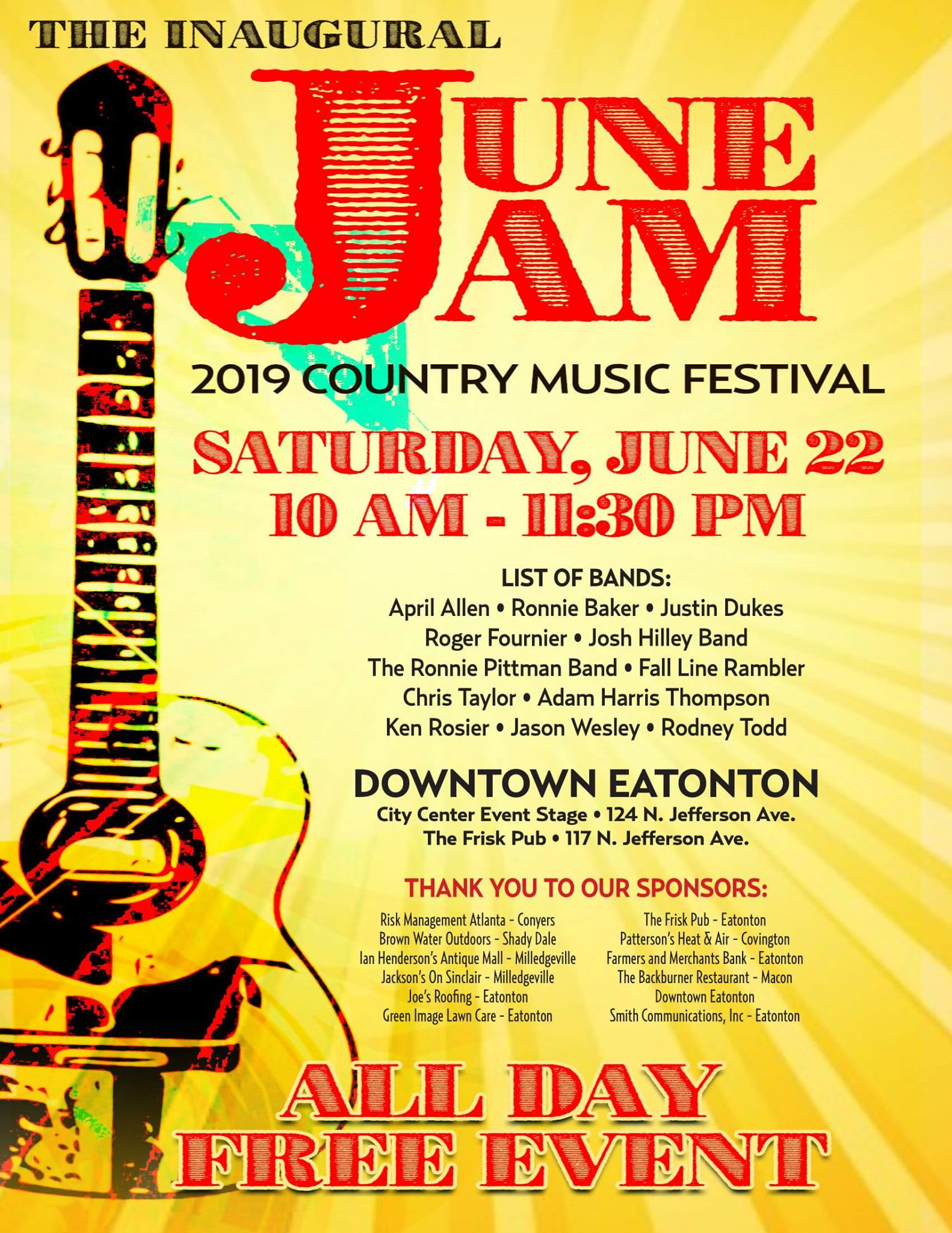 2019 June Jam Country Music Festival In Downtown Eatonton
