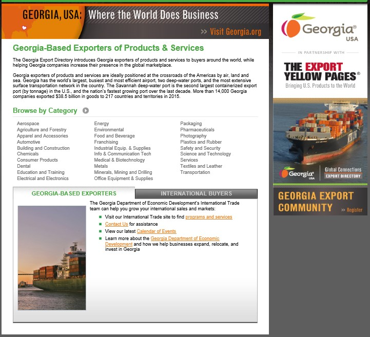 Georgia Export Directory Webpage